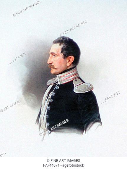 Portrait of Emmanuil Dmitryevich Naryshkin (1813-1901) by Hau (Gau), Vladimir Ivanovich (1816-1895)/Colour lithograph/Academic art/1847/Russia/Russian State...