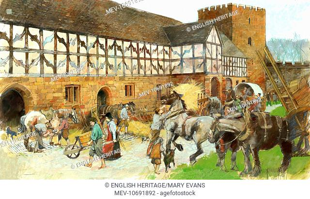 Kenilworth Castle, Warwickshire. Reconstruction drawing by Ivan Lapper showing activity around the Stables
