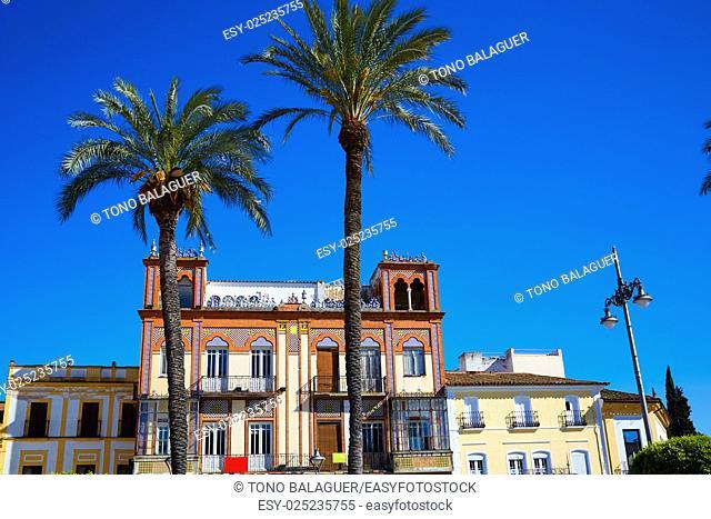 Merida in Spain Plaza de Espana square at Badajoz Extremadura by via de la Plata way