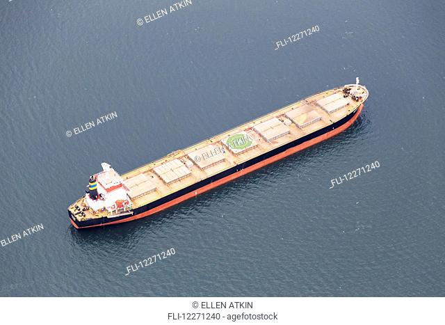 Aerial view of tanker ship in the Burrard Inlet; Vancouver, British Columbia, Canada