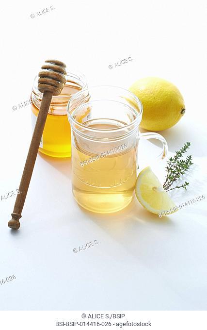 Treating the common cold : thyme herbal tea, honey, lemon