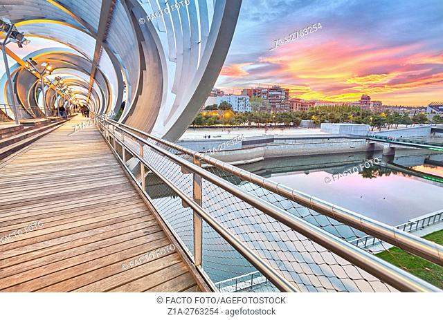 Arganzuela bridge, designed by architect Dominique Perrault. Madrid Rio Park. Madrid. Spain