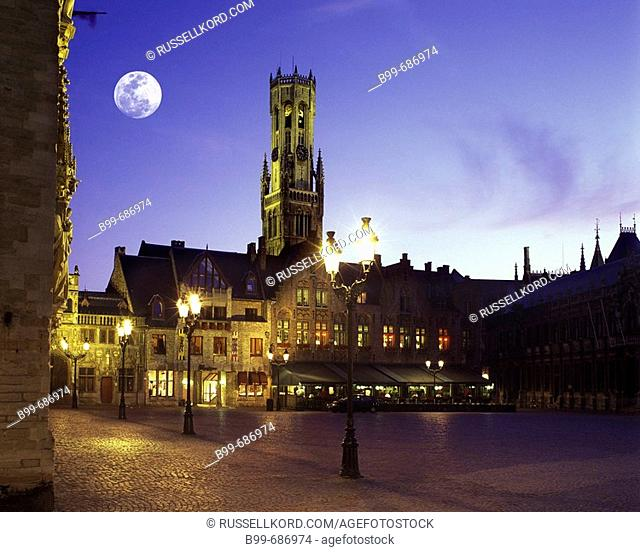Burg Square And Belfry, Eglise De Notre Dame, Brugge Belgium