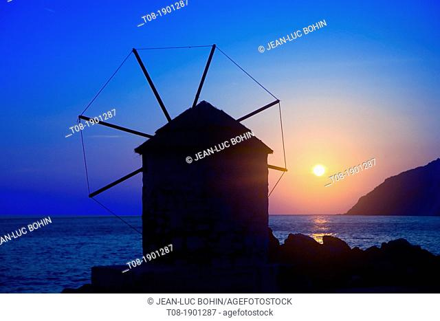 greece, cyclades, amorgos: mill in the port of Egiali