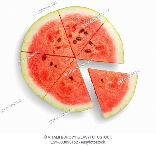Round ripe watermelon with extended sector isolated on white background