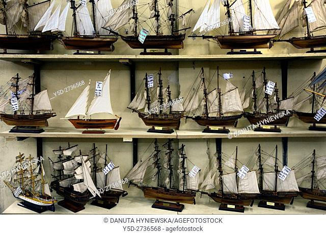 factory of handmade scale model wooden ships in Curepipe, display of products, Mauritius, Africa