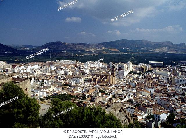 View of Sagunto, with St Mary Church in the centre, Valencia, Spain