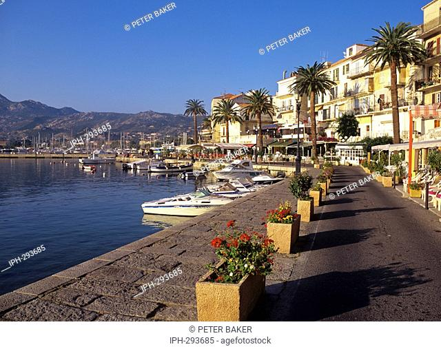 View along the waterfront at Calvi, an old Corsican city on the northwest coast
