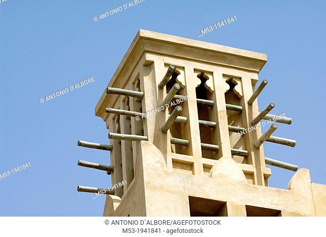 traditional windcatcher structure. dubai. united arab emirates