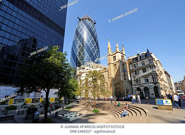 Church of St Andrew Undershaft and The Gherkin, London, United Kingdom, Europe