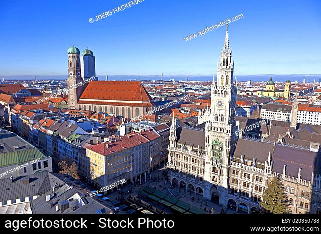 aerial of Munich in beautiful weather with Frauenkirche