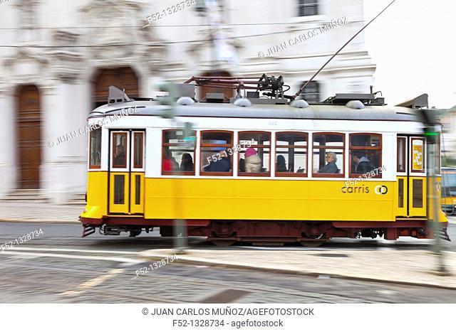 Tram in Lisbon, Portugal, Europe