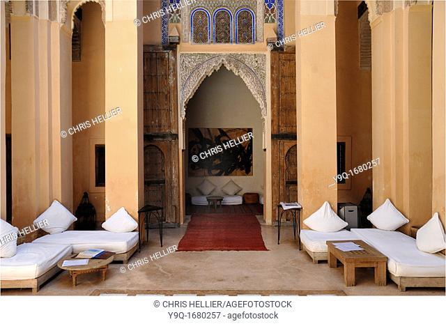 Interior of Dar Cherifa late c15th Saadian Riad Marrakesh or Marrakech Morocco