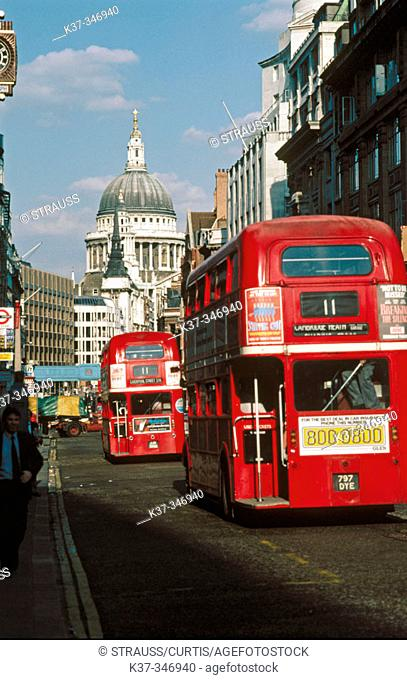Fleet Street in financial district with Saint Paul's in background