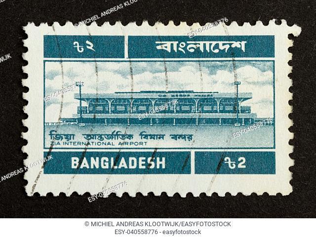 BANGLADESH - CIRCA 1970: Stamp printed in Bangladesh shows the national international airport, circa 1970