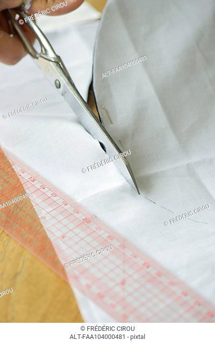 Cutting fabric, cropped