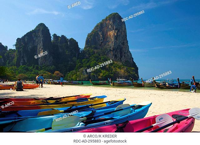 Kajaks on the Ray Leh West Beach, Krabi, Thailand