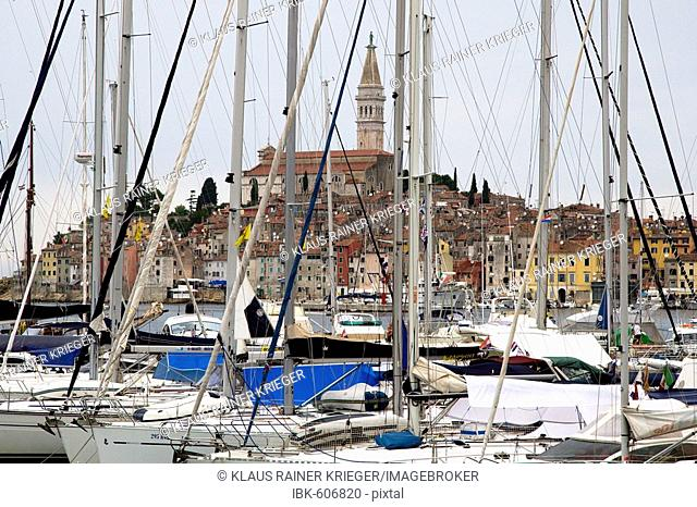 View across the harbour with sailing boats towards the historic town, Rovinj, Istria, Croatia