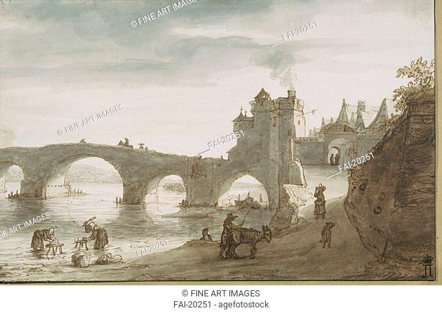 Bridge Across the Loire at Amboise. Doomer, Lambert Harmensz (1624-1700). Pen, brush, grey and brown colour, watercolour on paper. Baroque. 1640s