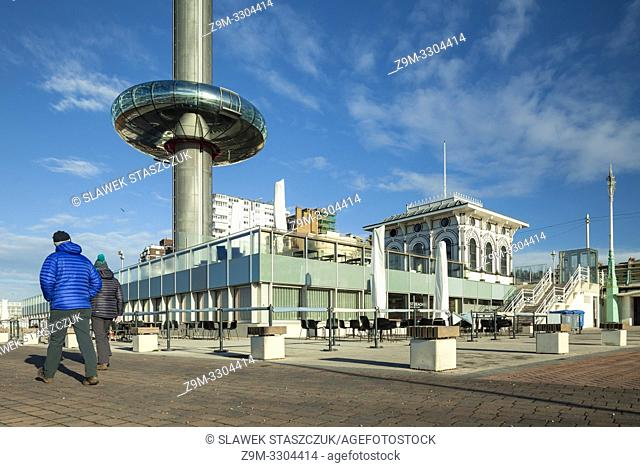 Morning at i360 tower on Brighton seafront, East Sussex, England