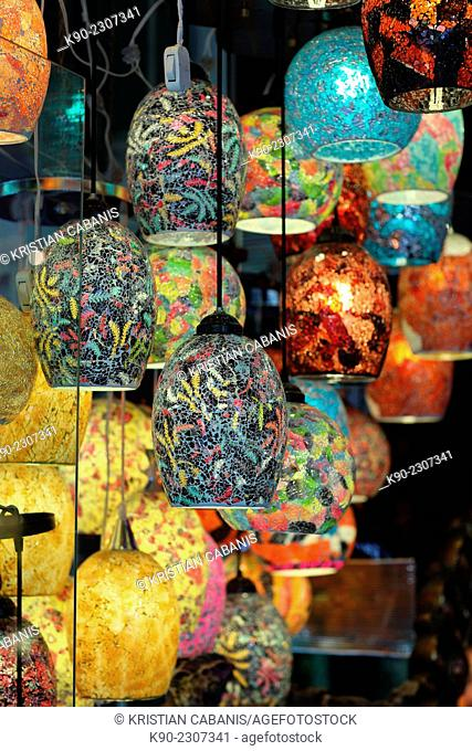 Colorful lamps hanging from the ceiling in a shop in Esfahan, Isfahan, Iran, Asian