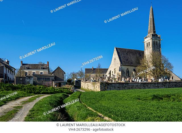 Saint Maurice Church, built by Jacques Turpin, at Crissay-sur-Manse, Labeled The Most Beautiful Villages of France. Indre-et-Loire, Centre region, Loire valley