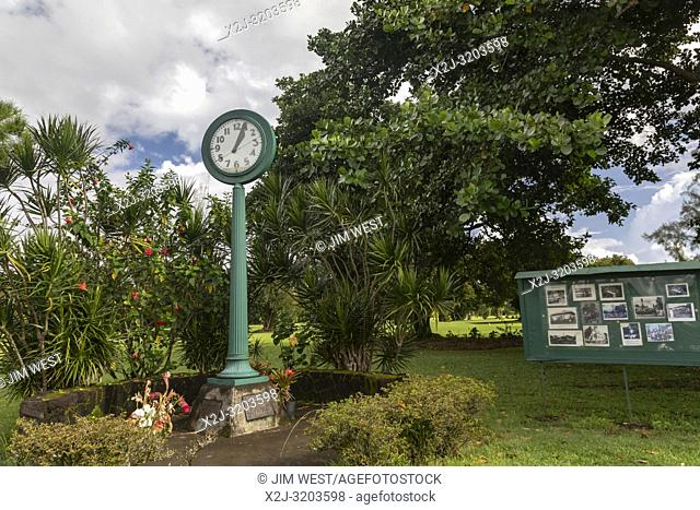 Hilo, Hawaii - The Tsunami Clock of Doom near Hilo Bay. The clock stopped at 1:04 am on May 23, 1960, when a 35-foot tsunami hit Hilo