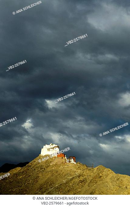 Tsemo buddhist monastery under dramatic clouds in Leh (Ladakh, India)