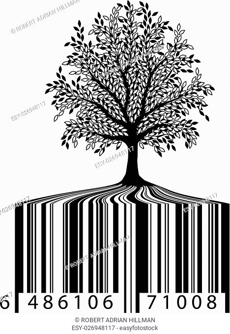 Editable vector illustration of a tree with bar-code roots