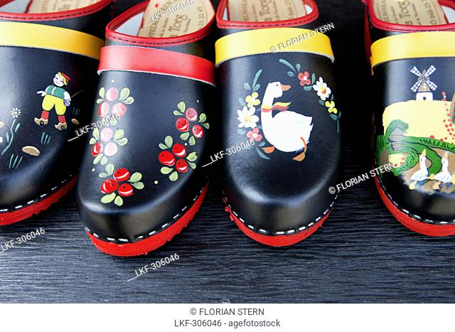 Close up of typical clogs, Malmoe, Skane, South Sweden, Sweden