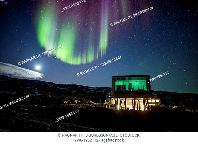 Aurora borealis over Hotel ION, located by Nesjavellir Power Plant, Iceland
