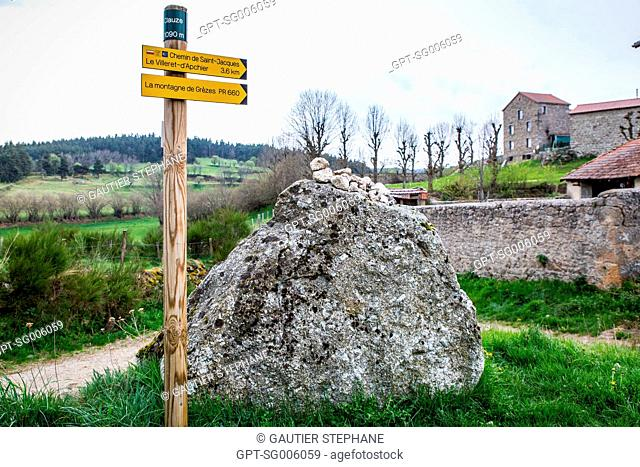 THE WAY OF SAINT JAMES NEAR GREZES (43), HAUTE LOIRE, REGION AUVERGNE RHONE ALPES, FRANCE