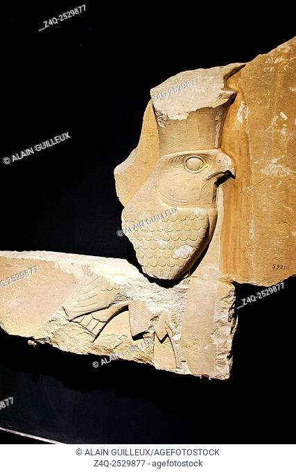 Egypt, Alexandria, National Museum, wall relief of king Senusret I, displaying the god Horus as a hawk