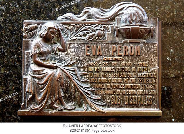 Tomb of Eva Duarte Peron ('Evita') former first lady. Cementerio de La Recoleta. Buenos Aires. Argentina
