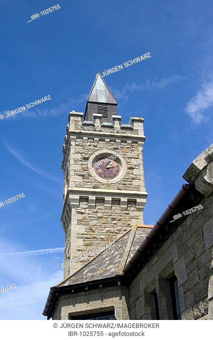Bell tower of Porthleven Institute, Porthleven, Cornwall, England, Great Britain, Europe