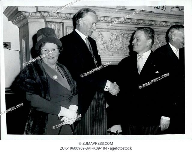 Sep. 09, 1960 - Lord Mayor of London receives the Mayor of Fredericksberg - Virginia: The Lord Mayor of London this afternoon received the Mayor of...