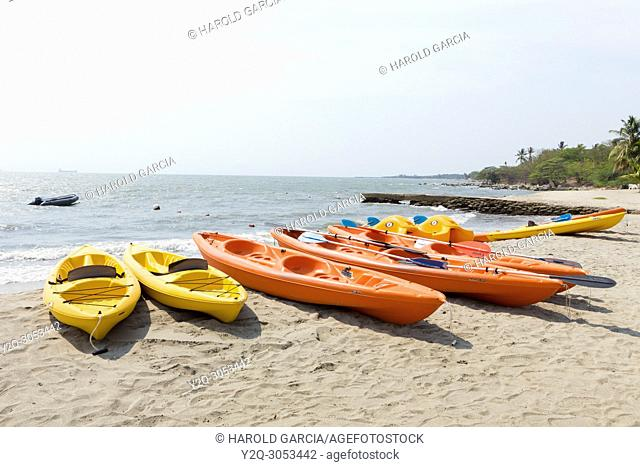 rental kayaks on the beach, Santa marta, Colombia