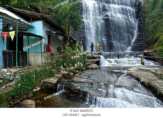 Hindu temple and waterfall in the vincinity of Nuwara Eliya, highlands, Sri Lanka