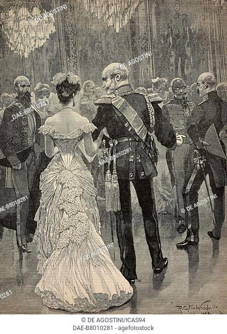 The king of Prussia William I at a court ball in 1862 pointing out Bismarck, his new minister of State, Life of the German Emperor William I