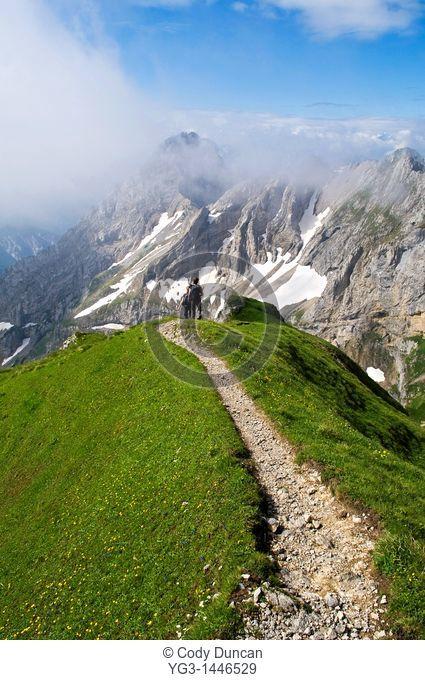 Hiking trail in limestone alps of Germany, Mittenwalder Hohenweg