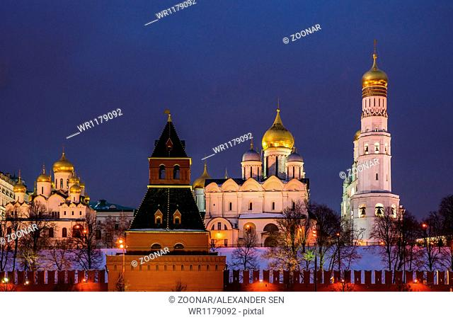 Kremlin Cathedrals At Night