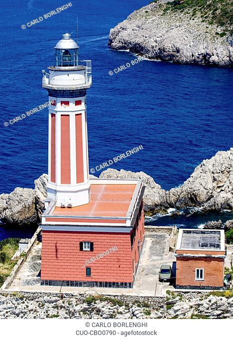 Aerial view, Faro di Punta Carena ligthhouse, Capri island, Campania, Italy, Europe