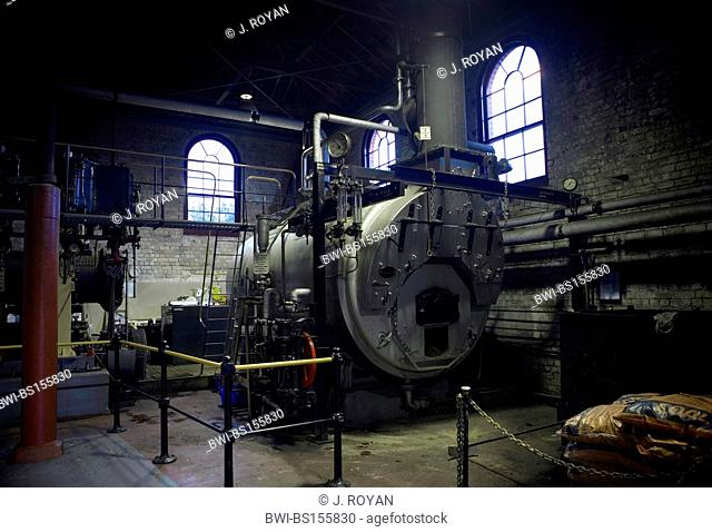 A 19. century heat machine room with a big coal boiler, New Zealand, Auckland