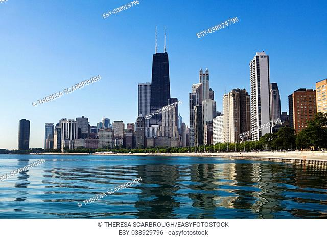 Chicago skyline view from North Avenue Beach along Lake Shore Drive