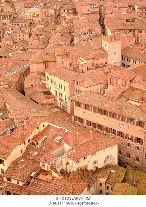 Tuscany, Italy, Siena, Toscana, Europe, Aerial view of the rooftops and city of Siena from The Torre del Mangia