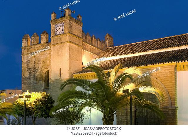Church of Santiago El Mayor at dusk- 15th century, Hinojos, Huelva province, Region of Andalusia, Spain, Europe