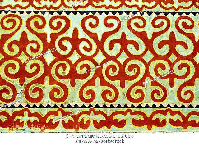 Kirghizistan, Province d'Issyk Koul, peinture murale de motif traditionnel / Kyrgyzstan, Issyk kul provincen wall painting with traditionnel pattern