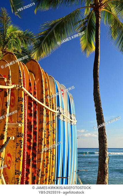 Surf boards are lined up for lessons along the shore of Waikiki Beach, Hawaii