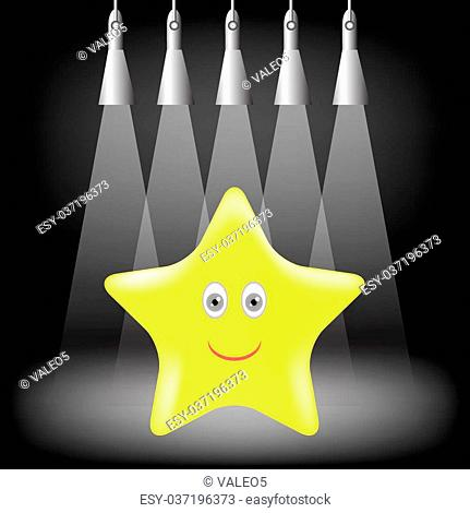 Yellow Gold Star Isolated on Light Background