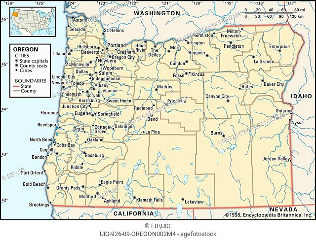 Oregon map, Stock Photo, Picture And Rights Managed Image. Pic. ZON on